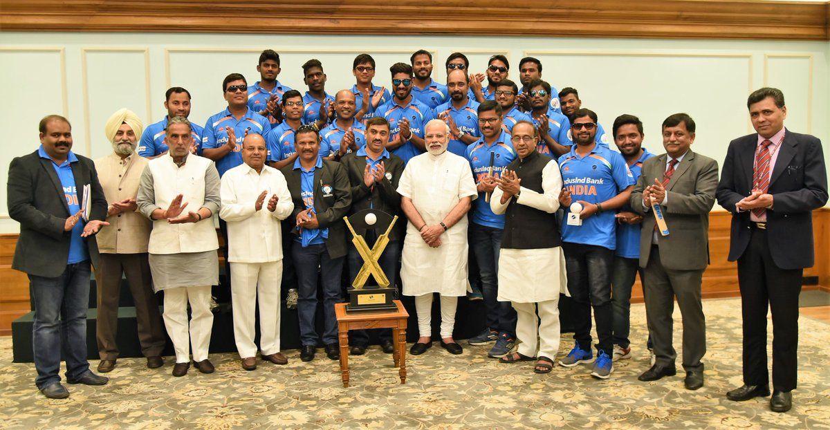 Had a memorable interaction with our champion cricketers, the winners of the T-20 Cricket World Cup for the Blind.