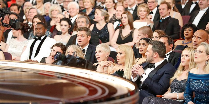 See the moment the A-List Oscars crowd realized LaLaLand was not the Best Picture winner