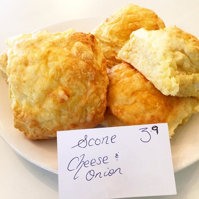 Wednesday 1 March, 11:15 a.m. - Cheese and onion scone , come and get one before they are all sgone #dadjokes #scones #yummy