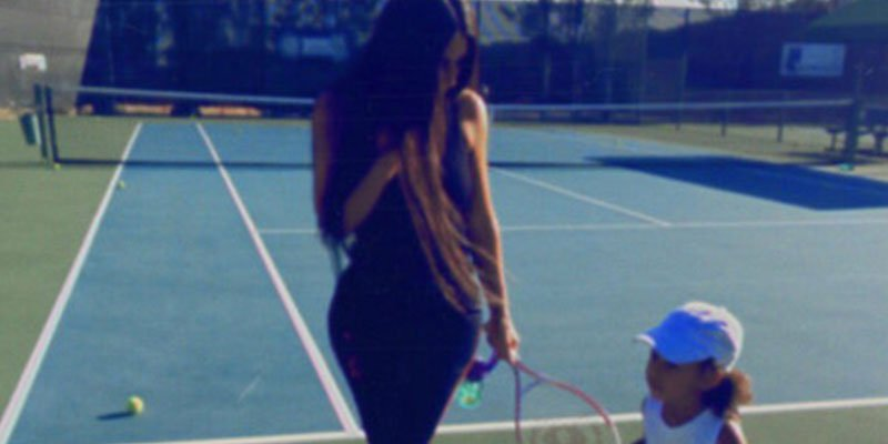 'Tennis time': Kim Kardashian and North West hit the court after cuddling up in pajamas