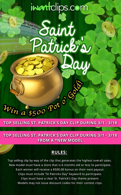 Top Selling #StPatricksDay clips wins 500 big ones! Work hard, play hard. https://t.co/1nrwo4Re1E
