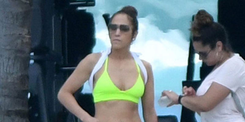 Jennifer Lopez sweats on the beach while in the Bahamas with beau Alex Rodriguez