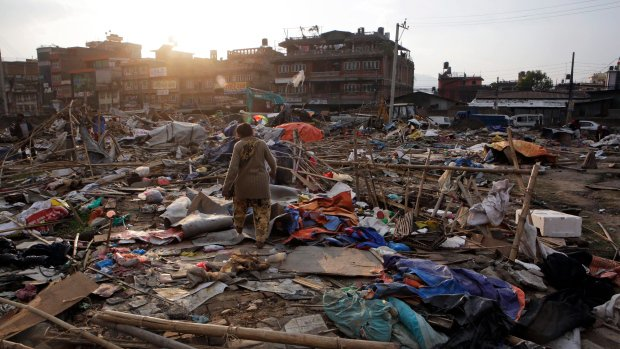 Nepalese police tear down earthquake victim camp in capital