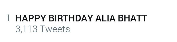 Trending at no.1 ! We love u princess keep smiling ALWAYS! HAPPY BIRTHDAY ALIA BHATT!