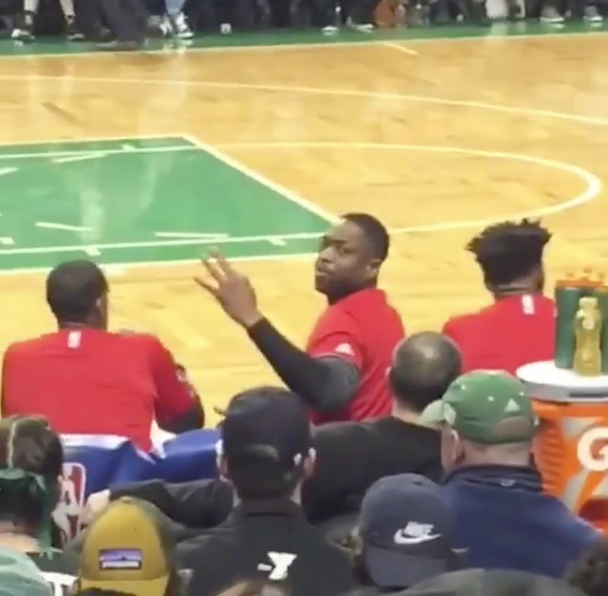 D Wade silenced a heckler by l Celtics
