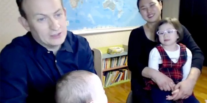 Family in Internet-winning BBC video explains what led to the hysterical kid cameos ?