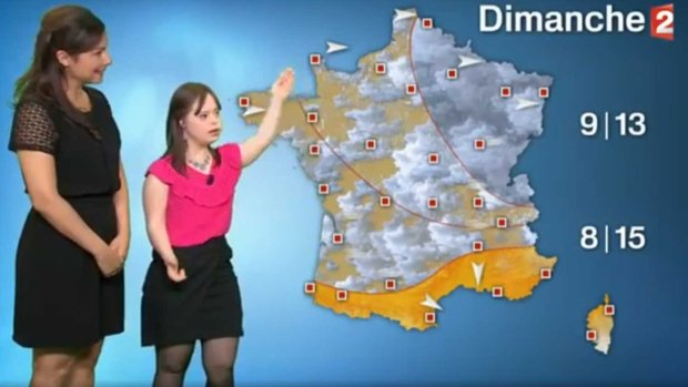 French weather presenter with Down syndrome scores a hit