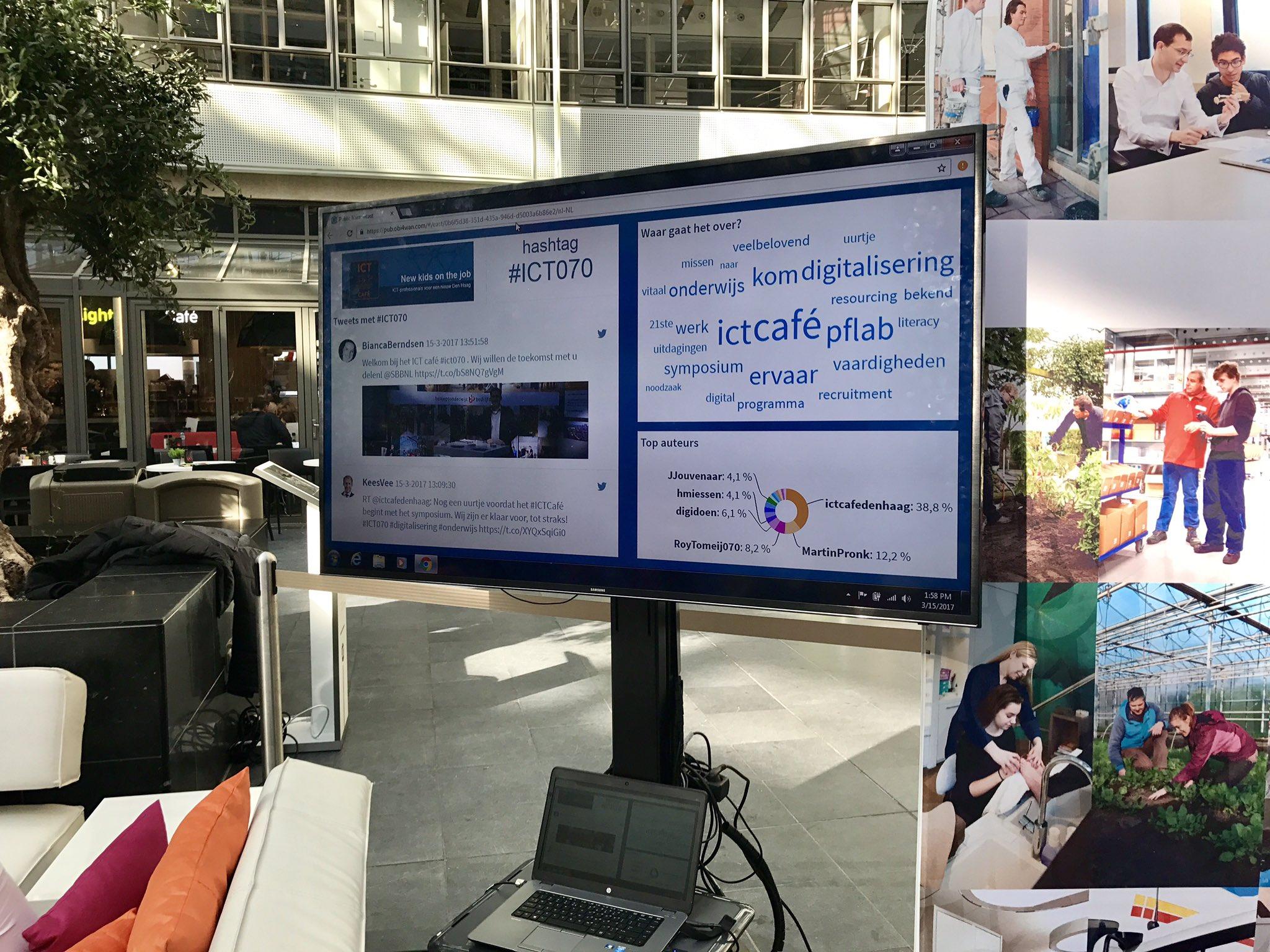 De twitterwall tijdens het ICT Café is ook deze editie door ons verzorgd. Zet hem vol! ;-) #ICT070 https://t.co/IjL7ni0oPe
