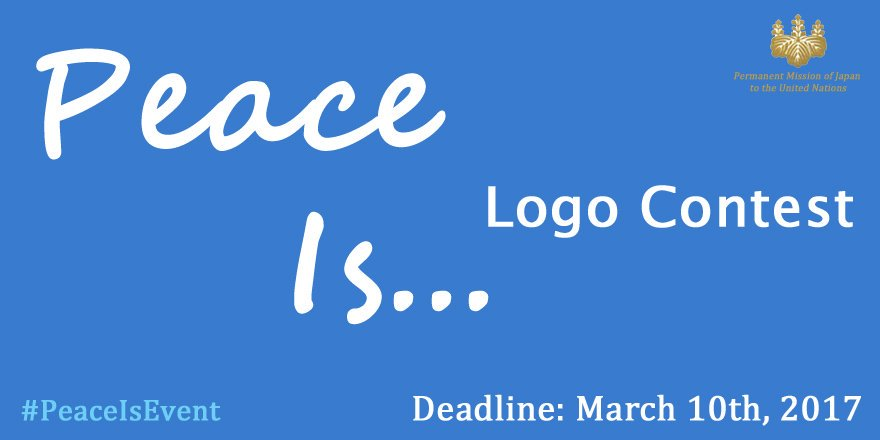 Submit your #PeaceIsEvent Logo entry this week! Info from @JapanMissionUN is here → https://t.co/p8xMpzzkau https://t.co/GgizZFSX74
