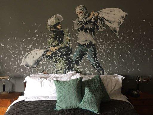 Banksy's art in West Bank hotel with world's 'worst view' - FOX5 Vegas - KVVU