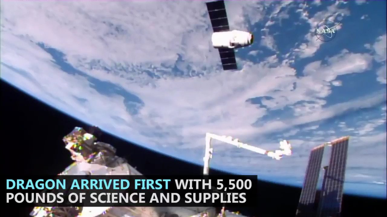 #ICYMI: Spaceships from @SpaceX and @Roscosmos launched and arrived to resupply the Exp 50 crew all within one week. https://t.co/HsoEaEaP2Z