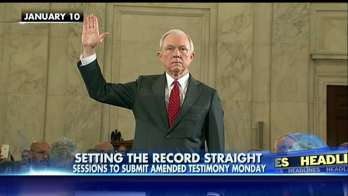 AG Sessions to submit amended testimony on Monday.