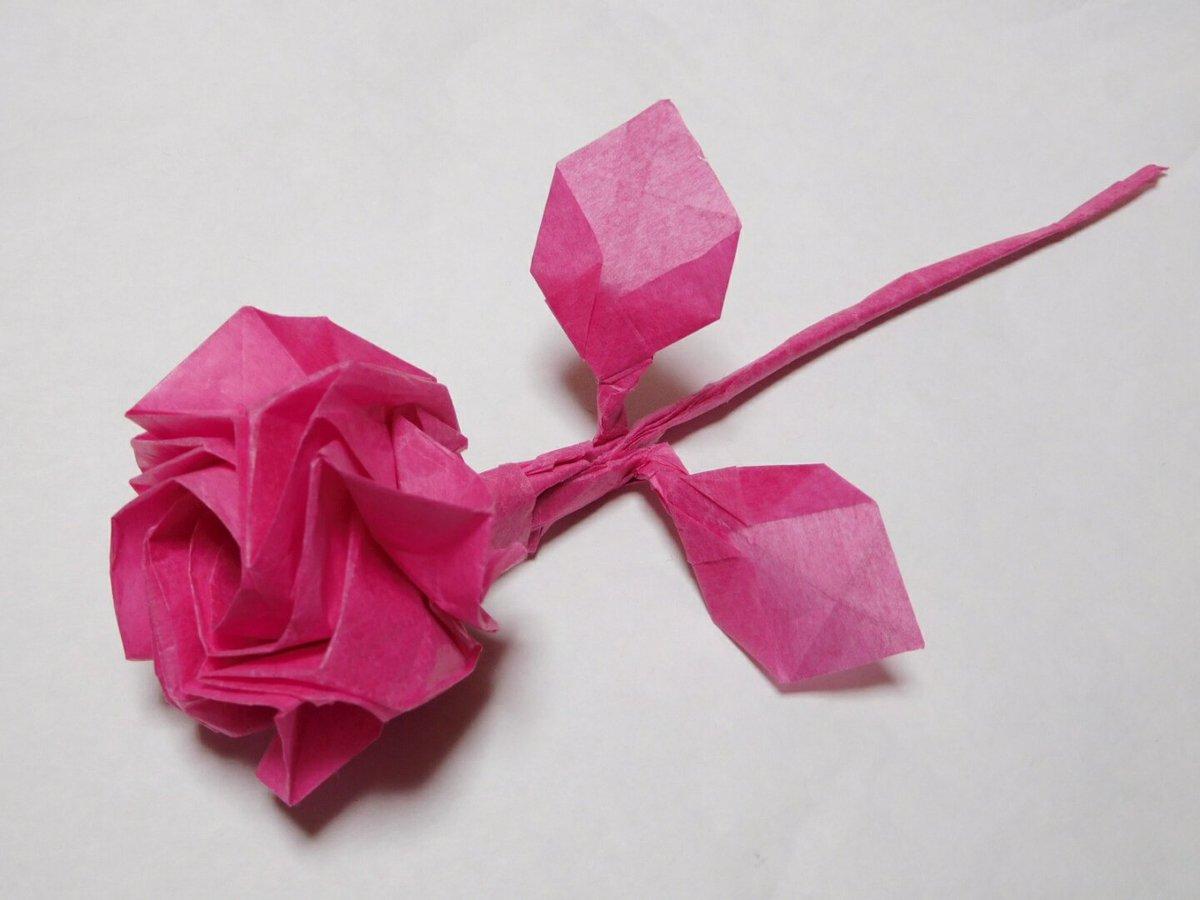 紫のバラ#折り紙作品 #ガラスの仮面 #不切正方形一枚折