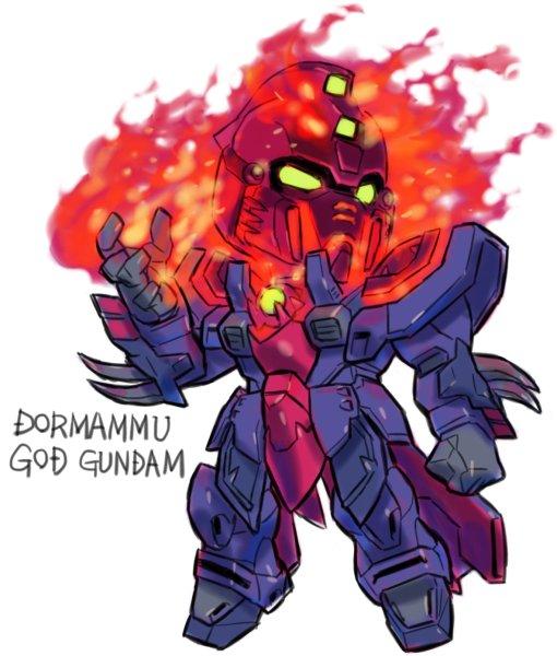 ドーマムゥゴッドガンダム。おれのこの手(頭も)が真っ赤に燃える!ストレンジ化したマスターガンダムの相手としては当然の流れ