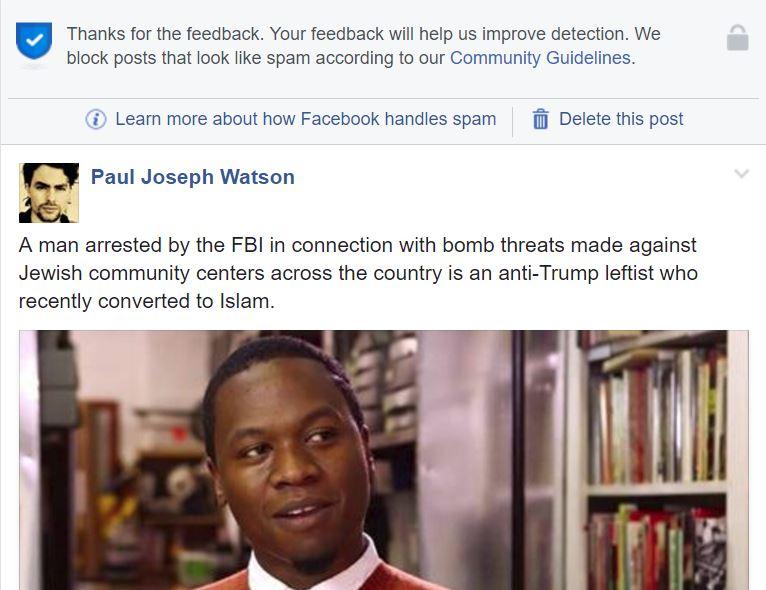 Facebook has begun blocking infowars links as