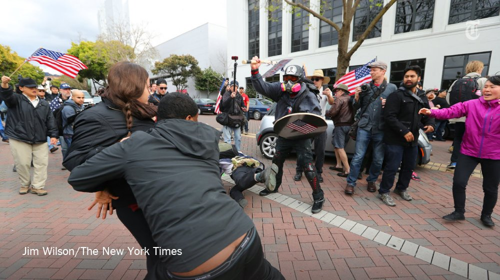 Supporters of President Trump clashed with counter-protesters in Berkeley on Saturday