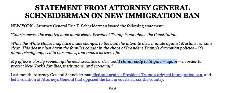 New York's @AGSchneiderman: 'I stand ready to litigate -- again' over Trump's new travel ban executive order.