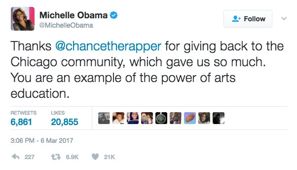 Image result for chance the rapper donation michelle obama
