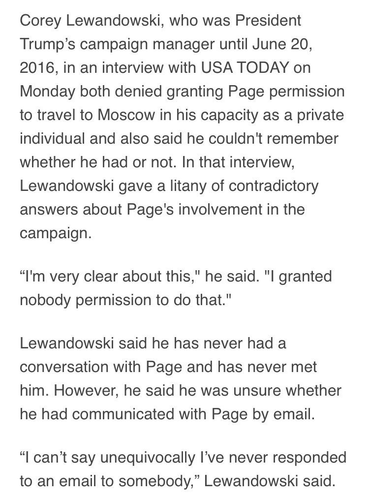 Corey Lewandowski seems to be having a tough time getting his story straight on Carter Page. https://t.co/nwEsxr7yhf https://t.co/LUgcYcgAOk
