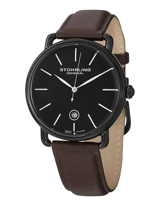 New #fashion #watches #win #style #giveaway #np Stuhrling Original 768 03 Swiss Quartz Date Brown Leather Strap Mens Watch #rt