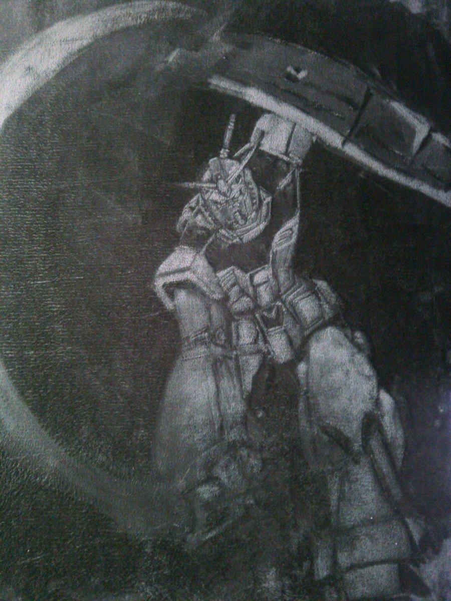 絨毯にガンダムさんのアイキャッチ描きました。顔とかアップで見るとテケトーなのよ そんな細かく描けませんて