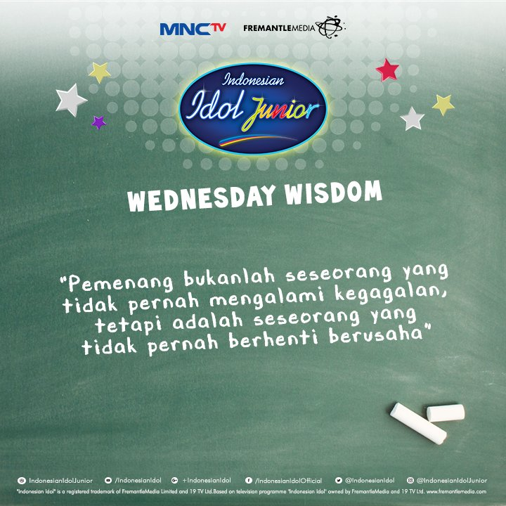 Lihat yuk 'Wednesday Wisdom' hari ini, semoga dapat menginspirasi kamu ya Junior :) #IdolJr2016 @official_MNCTV https://t.co/EJXtRIvzhy
