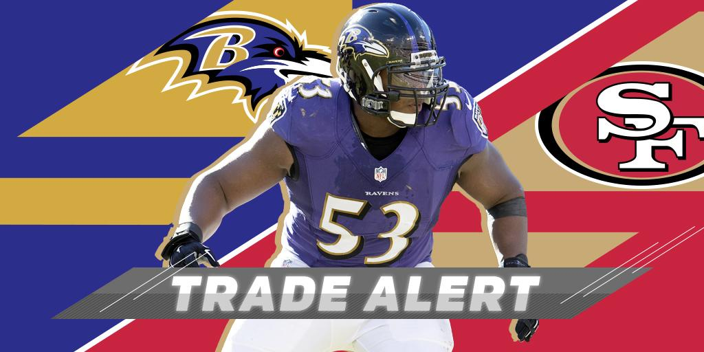 �� TRADE ALERT! ��  @Ravens send Pro Bowl center to @49ers: https://t.co/gbsWrSLTIc https://t.co/WPGQfW2ymR