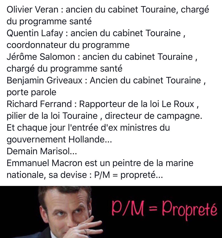 4 ex cabinet Touraine chez @EmmanuelMacron , tu la vois l'arnaque toi professionnel de santé? ... https://t.co/lJkPJMF2xX