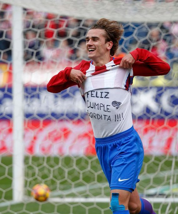 Atletico Madrid star Antoine Griezmann fined after shirt celebration to wish wife