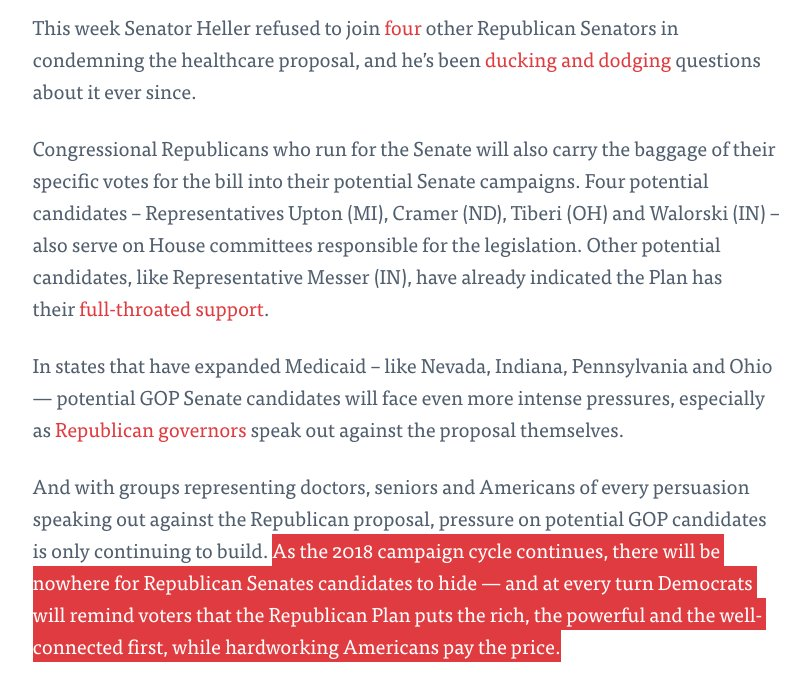 DSCC memo on GOP health care plan: 'There will be nowhere for Republican Senates candidates to hide' in '18 midterms https://t.co/wf1Jf6sppd