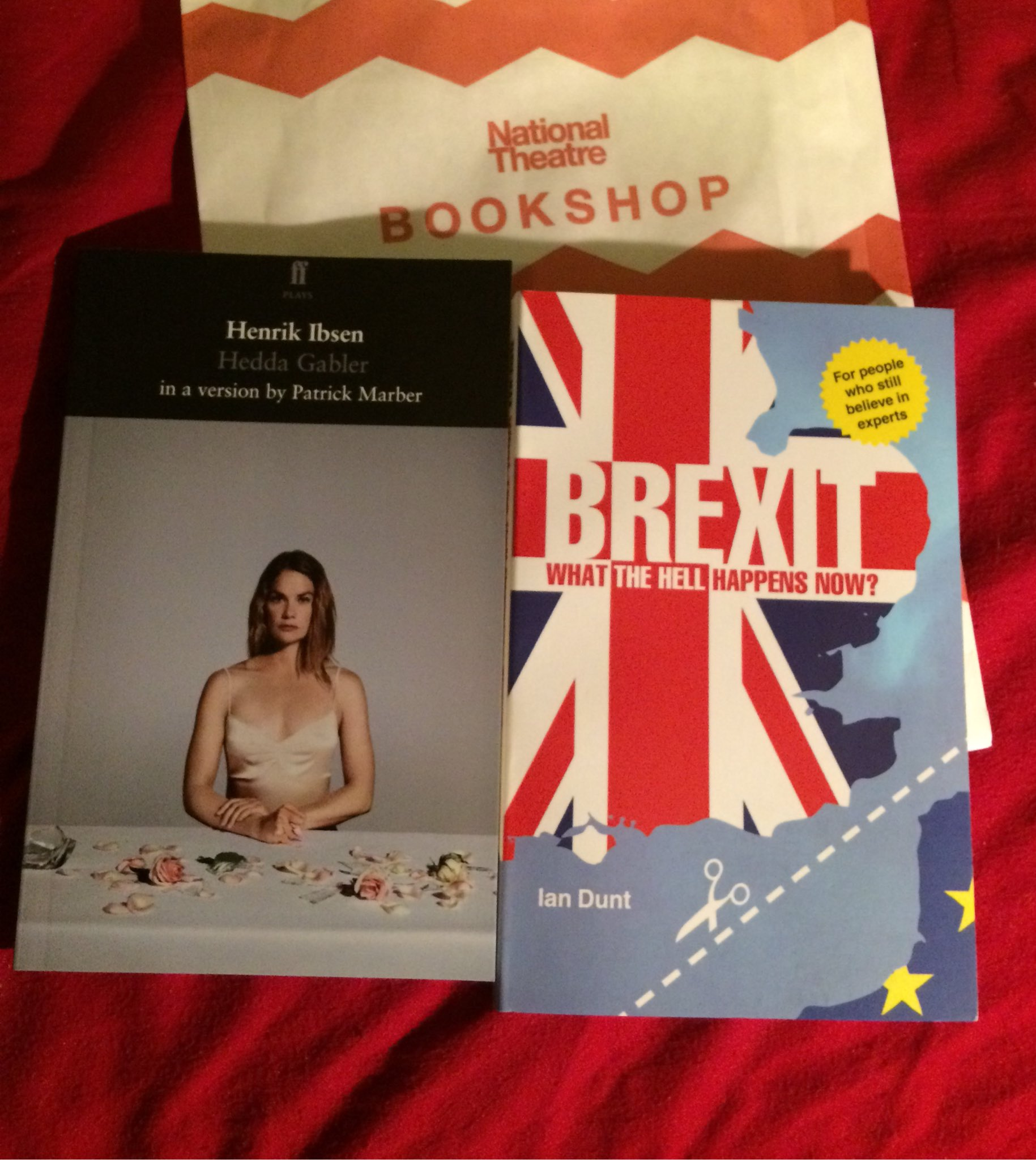 Saw excellent #HeddaGabbler @nationaltheatre bought @iandunt #brexit book & play text. Buying thematically now https://t.co/eu7bD8SSgb