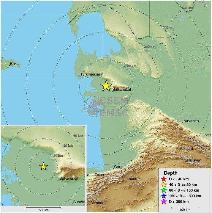Felt earthquake m42 strikes 30 km nw of balkanabat turkmenistan