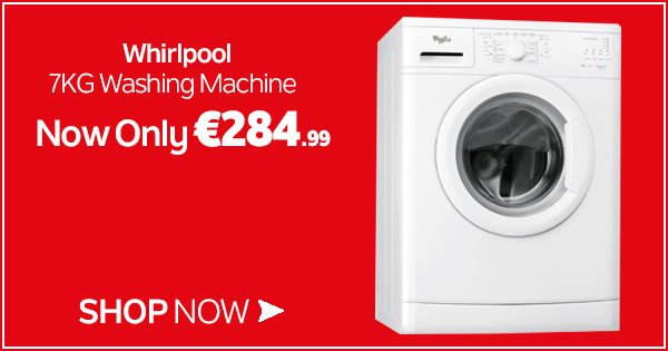 Get the Whirlpool 7KG White Washing Machine this weekend for just €284.99! Shop now - https://t.co/qLx7KfKHhJ https://t.co/e9WqGeVP8A
