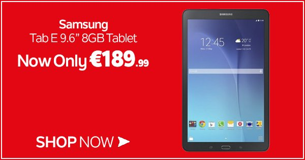 Looking to keep the kids entertained? Get the Samsung Tab E for only €189.99 this weekend! https://t.co/zZyOiCAs4n https://t.co/YxD3B5E8nh
