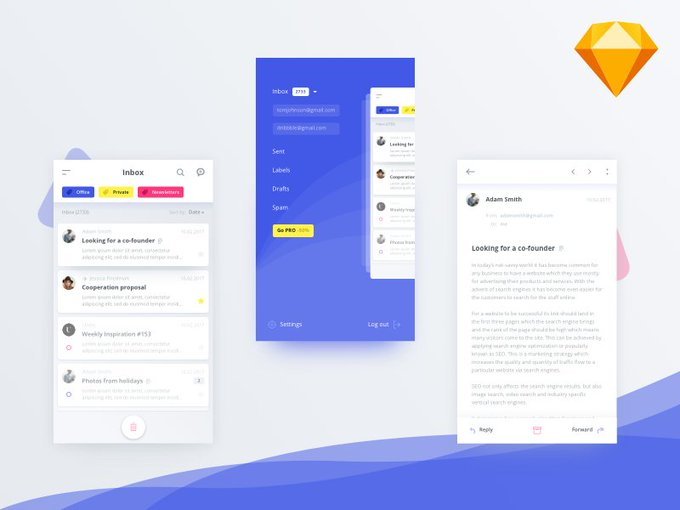 Mail client app   Template by alanpodemski freebie