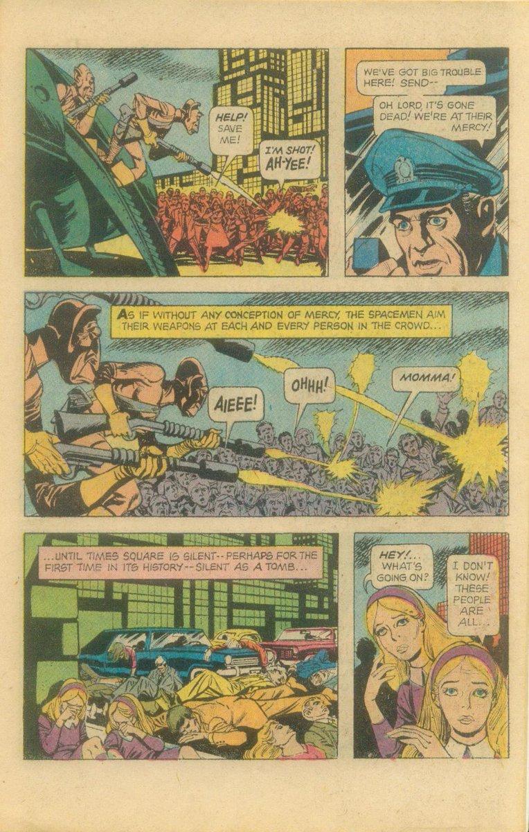 UFOアメコミ読んでたら、宇宙人の襲撃を受けた民衆がニンジャスレイヤーばりに「アイエエエ!」とか悲鳴あげてて笑った