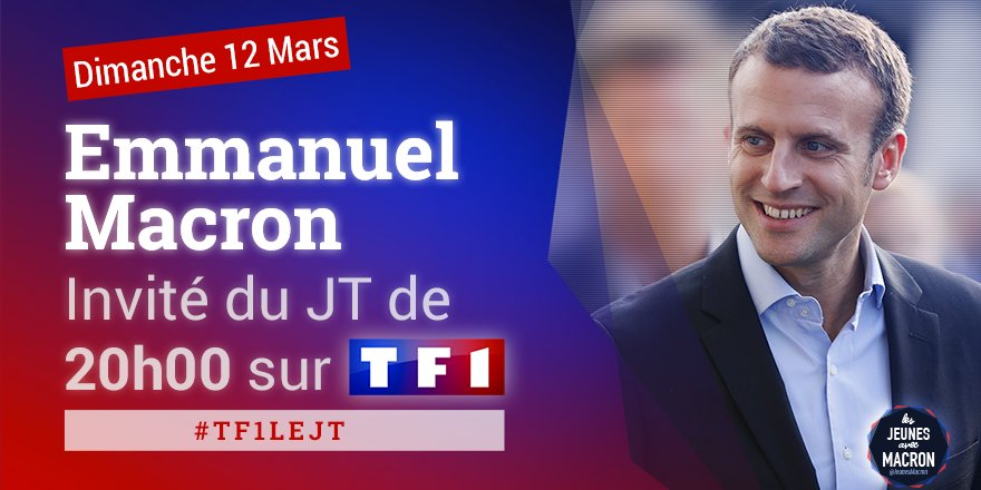 �� @EmmanuelMacron sera demain l'invité du 20H de TF1 #TF1LEJT https://t.co/ZxhfRepBBY