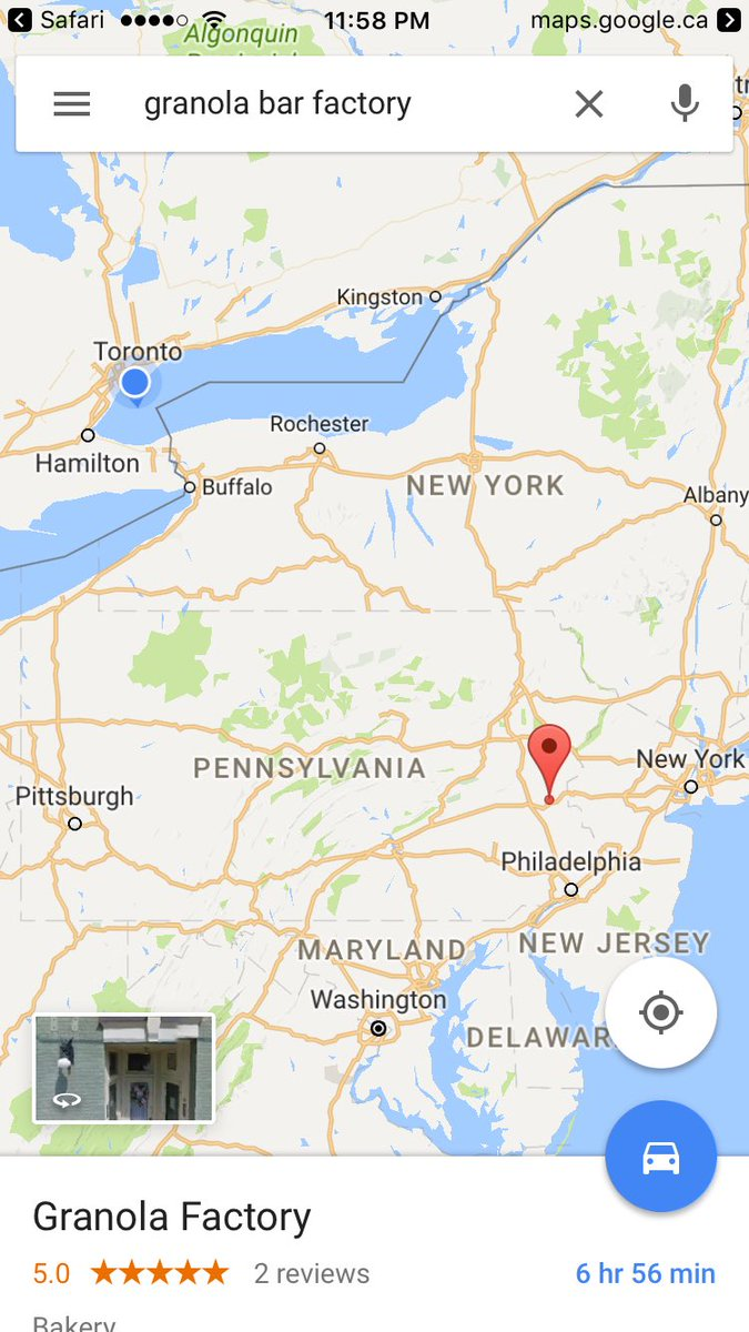 Google maps says the closest granola bar factory is in allentown ...
