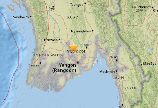 Moderate earthquake shakes Myanmar's biggest city