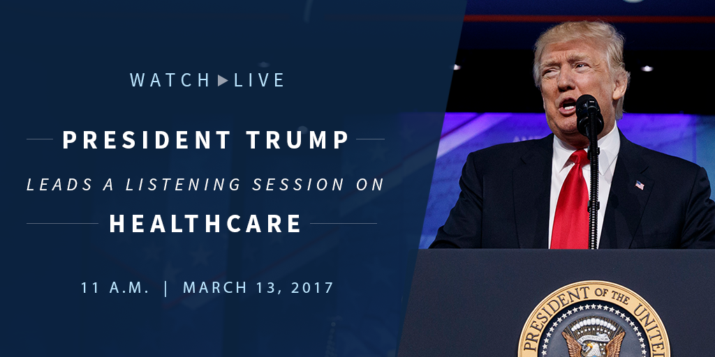 Watch LIVE as @POTUS Trump leads a listening session on healthcare: https://t.co/b38z2OIsLB https://t.co/Dkj0p5C4Ku