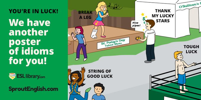 Lucky Idioms Poster: StPatricksDay ELT freebie