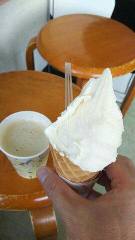 きなことカフェオレ。きなこ、パンチ効いてるwww #ろんぐらいだぁす #双龍 (@ 飯田牧場 in 藤沢市, 日本)