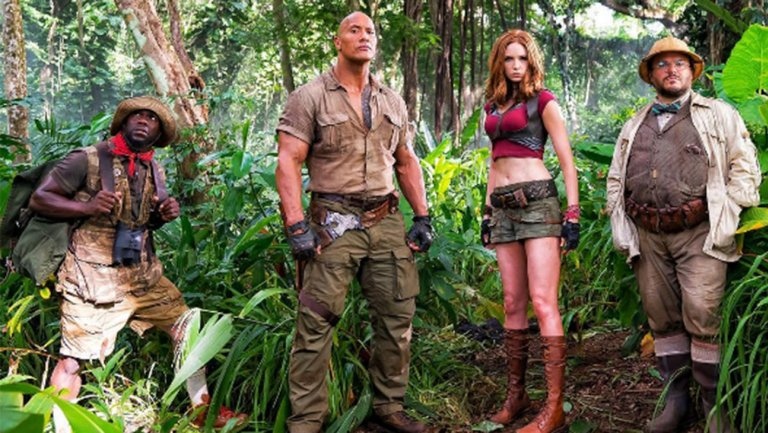 #Jumanji @TheRock shows off crowd-pleasing first footage at #CinemaCon