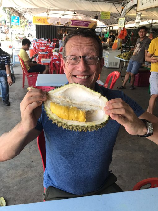 Enjoying durian in KL. don't know what all the fuss is about. Fresh durian Smells lovely and fruity. Taste is rich and creamy #notthatbad