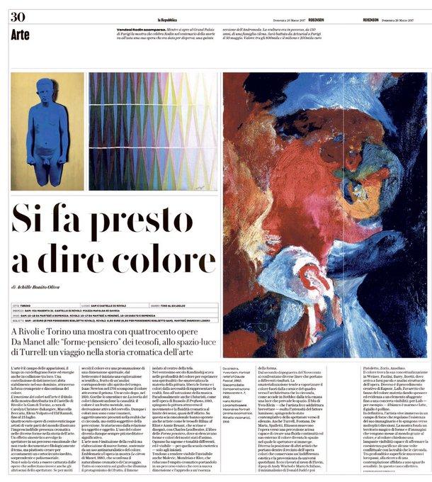 Si fa presto a dire colore: a Torino e a Rivoli un viaggio nella storia cromatica dell'arte Achille Bonito Oliva su #Robinson  @CasaLettori