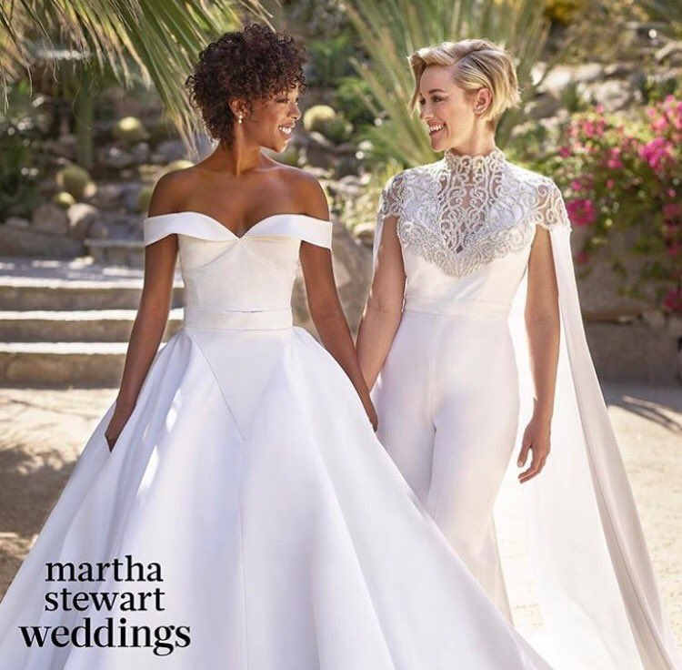 The brides wore Siriano & looked stunning! Congrats  & !@samirawiley Was a @lomorellipleasure creating this for your big day @MarthaWeddings