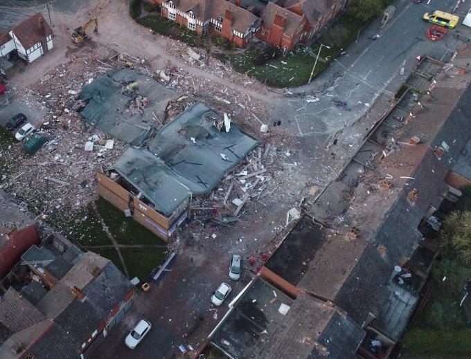 Photo du lieu de l'explosion de gaz à #newferry en #Angleterre 🇬🇧