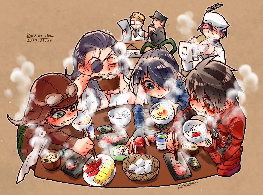 本日のペーパーでした。ドリフターズ(日本人)の朝御飯。湯気120パーセント増量中。