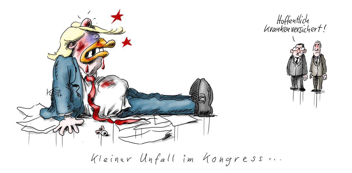Kleiner Unfall im Kongress...#obamacare #Trump. Mehr Karikaturen von Klaus #Stuttmann finden Sie hier: https://t.co/p2XNdZQGzy