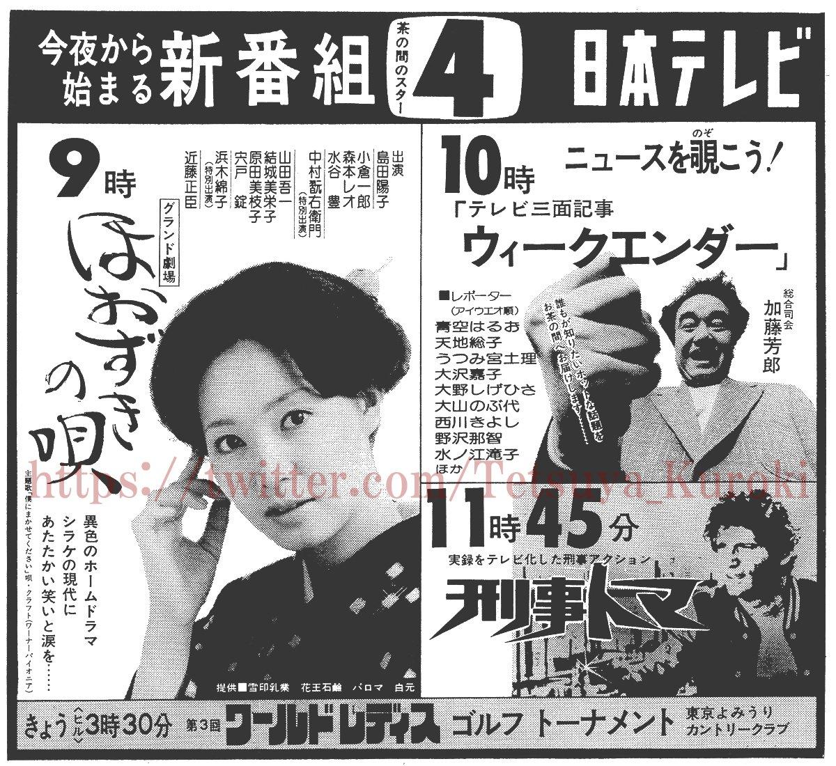 1975年4月5日の毎日新聞夕刊に載ったウィークエンダーの新番組広告では、『ドラえもん』の大山のぶ代さんや、『スペースコ